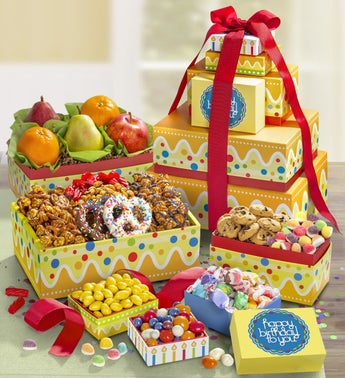 Happy Birthday Fresh Fruit  Sweets Tower