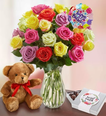 Happy Birthday Assorted Roses 12-24 Stems