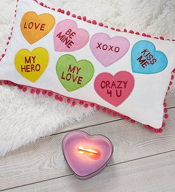 Sweet Hearts Pillow And Candle