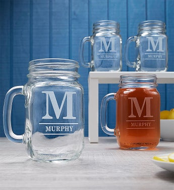 Personalized Set of 4 Mason Jars