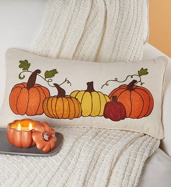 Fall Pumpkin Pillow and Candle Set