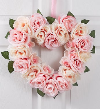 Pink Rose Heart Shaped Wreath- 16