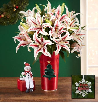 Candy Cane Lily Christmas Bouquet