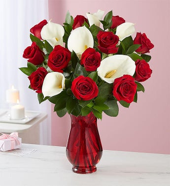 Stunning Red Rose  Calla Lily Bouquet