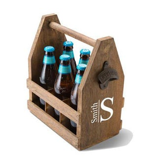 Monogrammed Beer Caddy with Bottle Opener