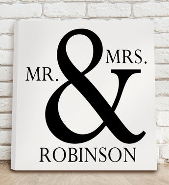 Personalized Mr  Mrs Canvas Print Sign
