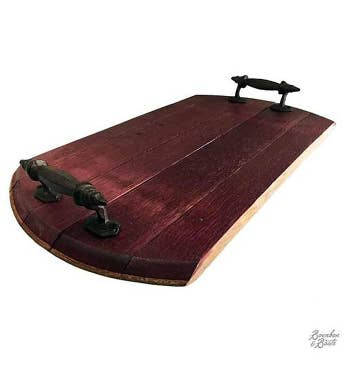 Handmade Wine Barrel Wood Serving Tray