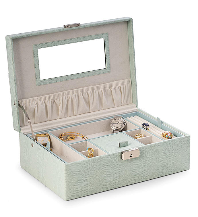 Aqua Blue Lizard Jewelry Box