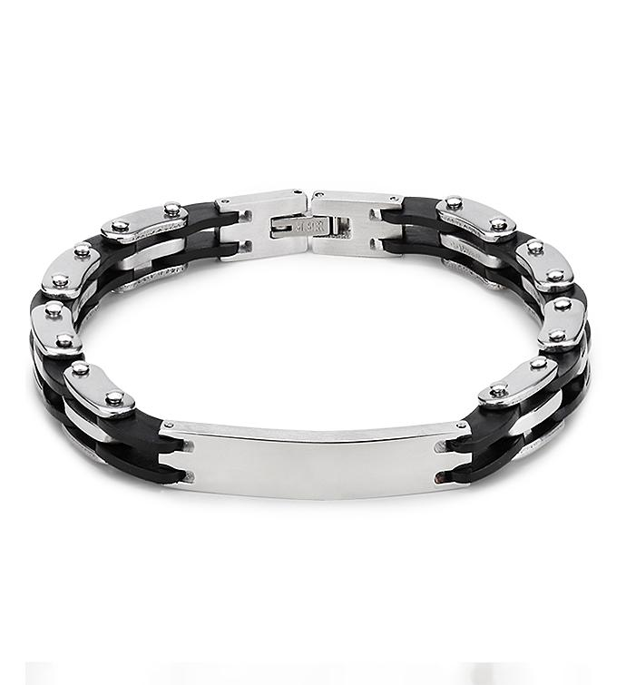 Silver  Black Links Bracelet