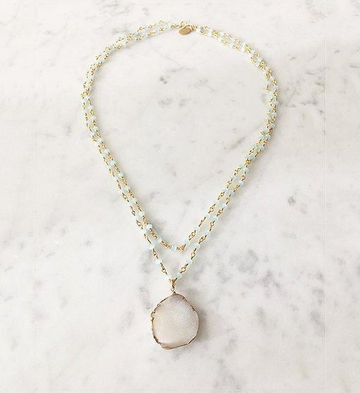 Double St. Tropez Druzy Necklace