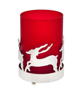 Deer Glass and Metal Votive