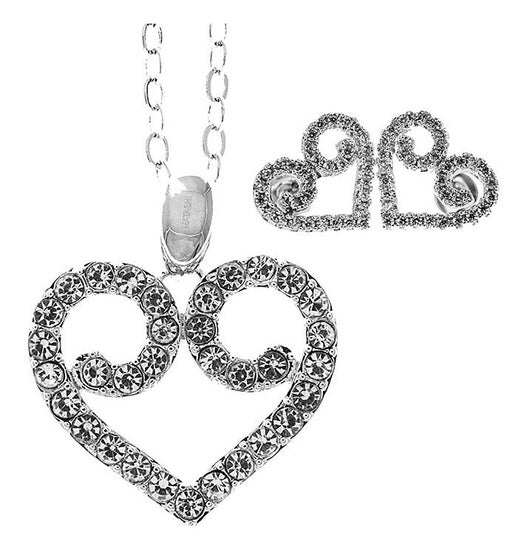 Swirling Heart Stud Earrings and Necklace Set