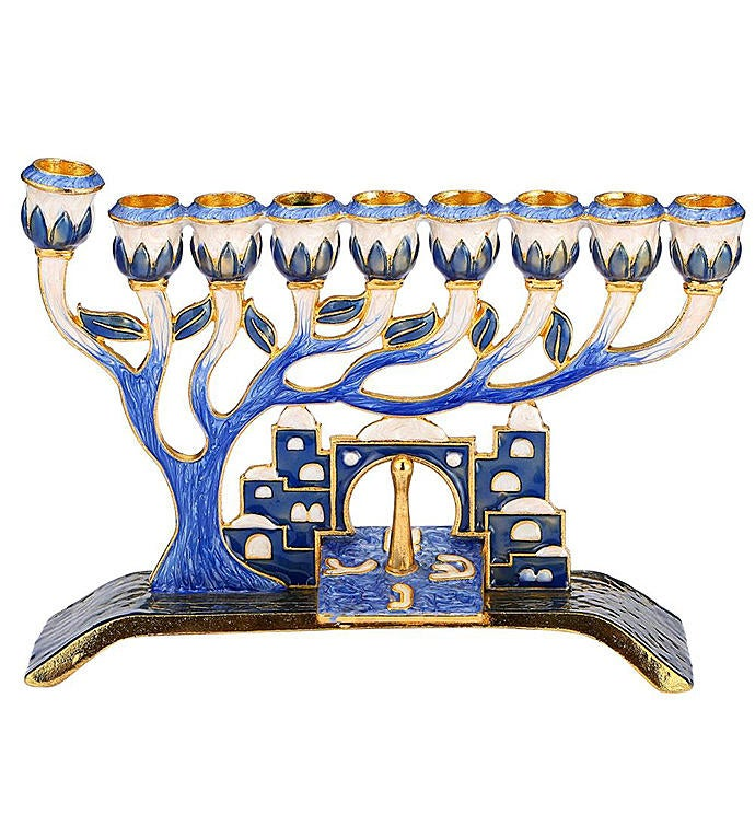 Hand Painted Blue Enamel Menorah Candelabra