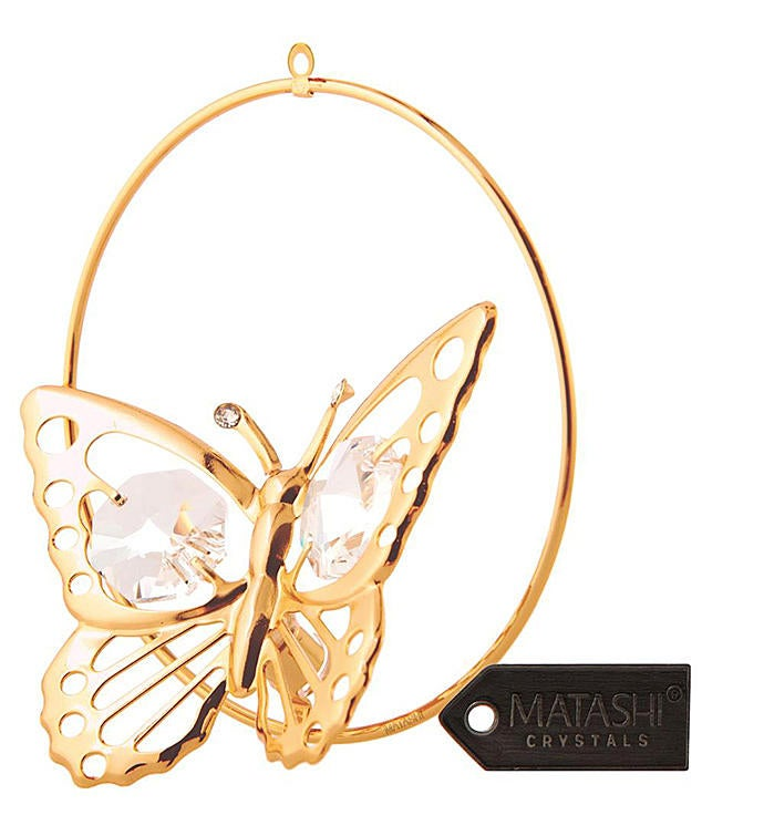 Gold Plated Butterfly In A Hoop Ornament