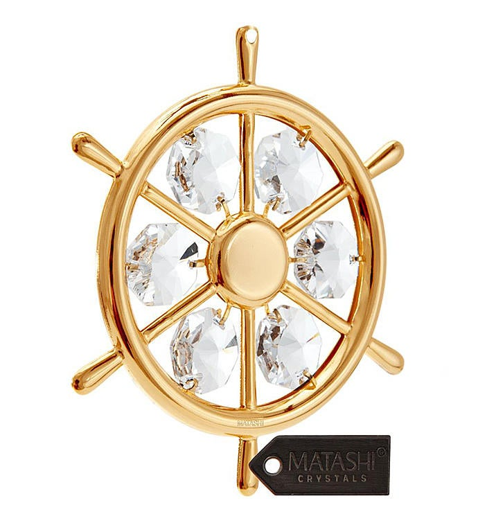 Gold Plated Captains Wheel Ornament