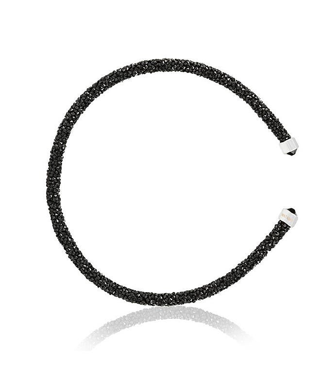 Black Glittery Bangle Bracelet By Matashi