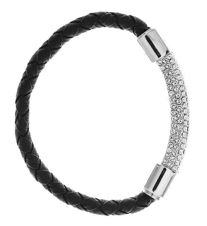 Black Corded Bracelet w 18K White Gold Plated