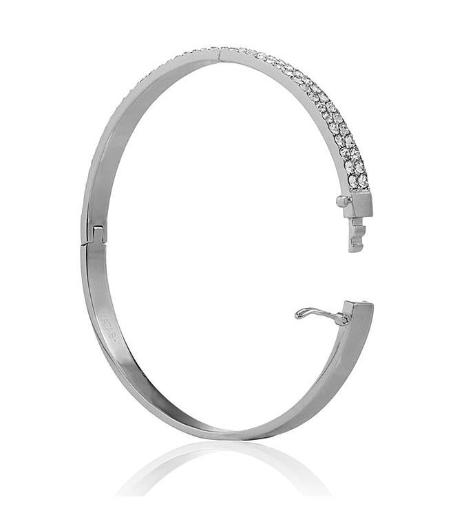 White Gold Plated 2 Row Pave DesignBangle