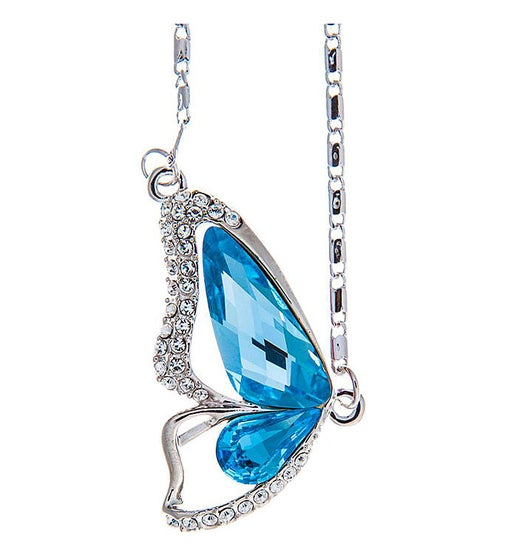 Ocean Blue Butterfly Wing Necklace