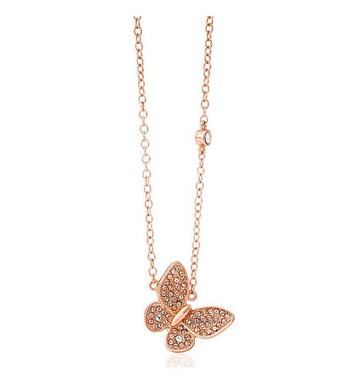 Rose Gold Plated Butterfly Pendant Necklace