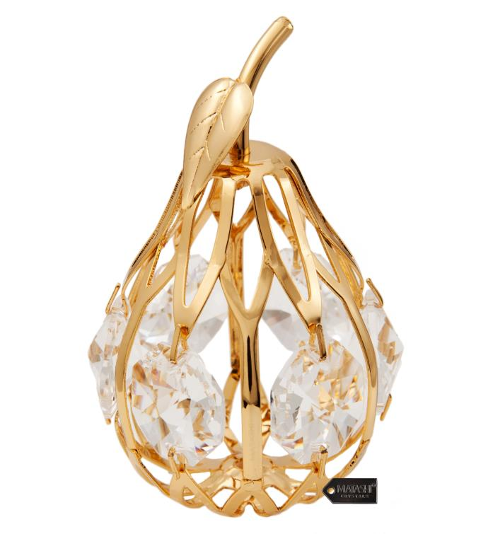 Gold Plated Crystal Studded Mini Pear Ornament