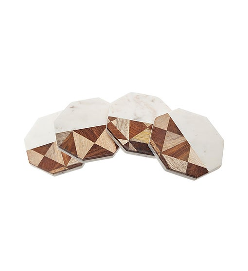 Octagon Marble/Wood Coasters