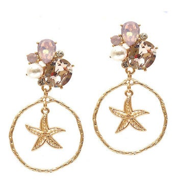 Gold Multi Stone Pink Crystal Mix Starfish Earring