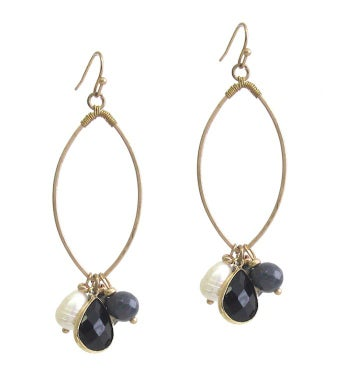 Multi Semi Precious Stone Dangle Wire Hoop Earring