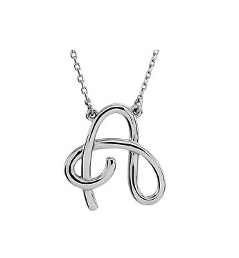 Script Initial Necklace 16-inch Sterling Silver