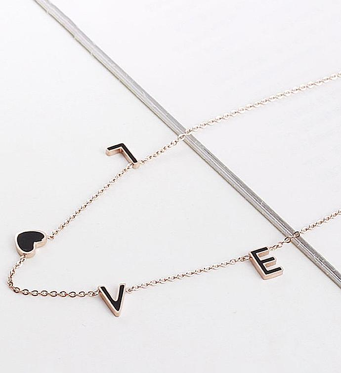 Black Love Rose Gold Necklace