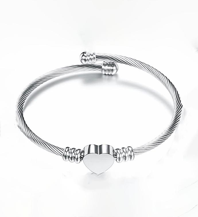 Silver Adjustable Heart Bracelet