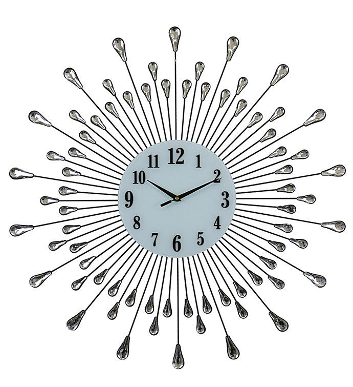 Silver Droplets Wall Clock