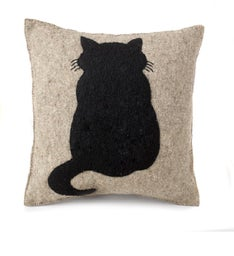 Handmade Cushion Cover - Cat on Gray