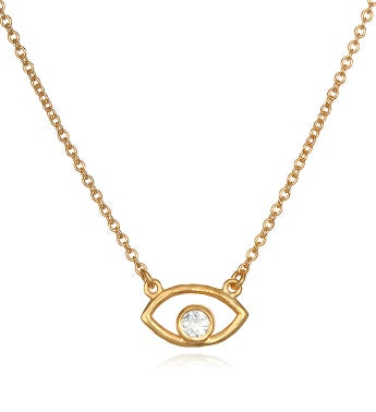 Protection White Topaz Gold Eye Necklace 18-inch