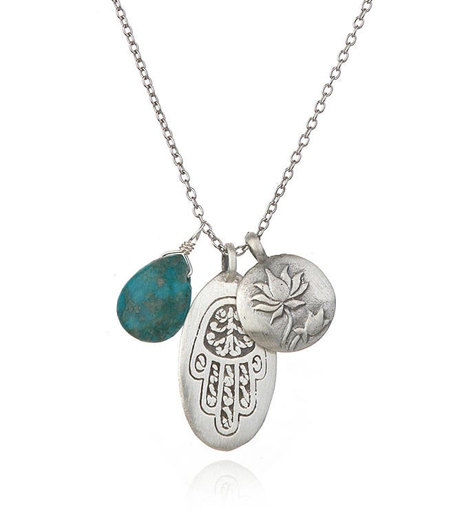 Turquoise Silver Hamsa Lotus Charm Necklace
