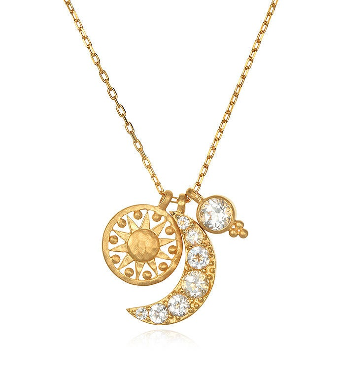 White Topaz Gold Sun  Moon Necklace