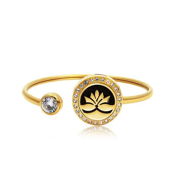 Gold Lotus Essential Oil Twistable Cuff Bangle