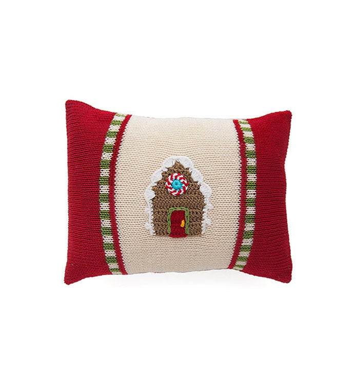 Mini Gingerbread House Pillow - Red