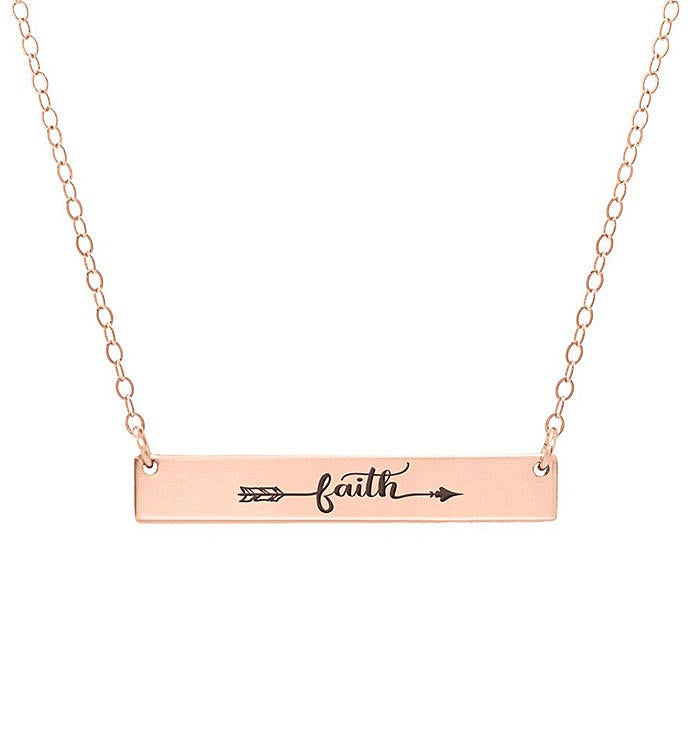 Arrow Faith Engraved Bar Necklace