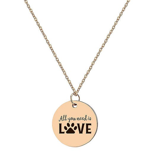 Rose Gold Round All You Need Is Love Engraved Stainless Steel Charm Necklace Free Gift Box