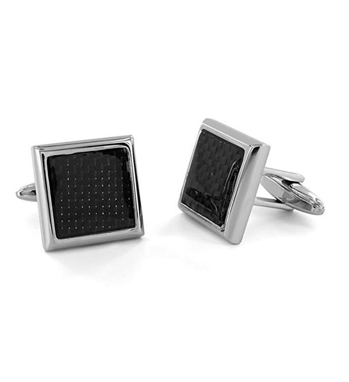 Stainless Steel Carbon Fiber Inlay Cufflinks