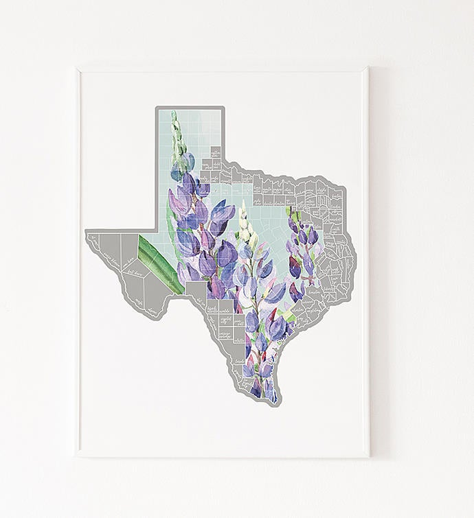 Scratch Your Travels Texas Bluebonnet Map
