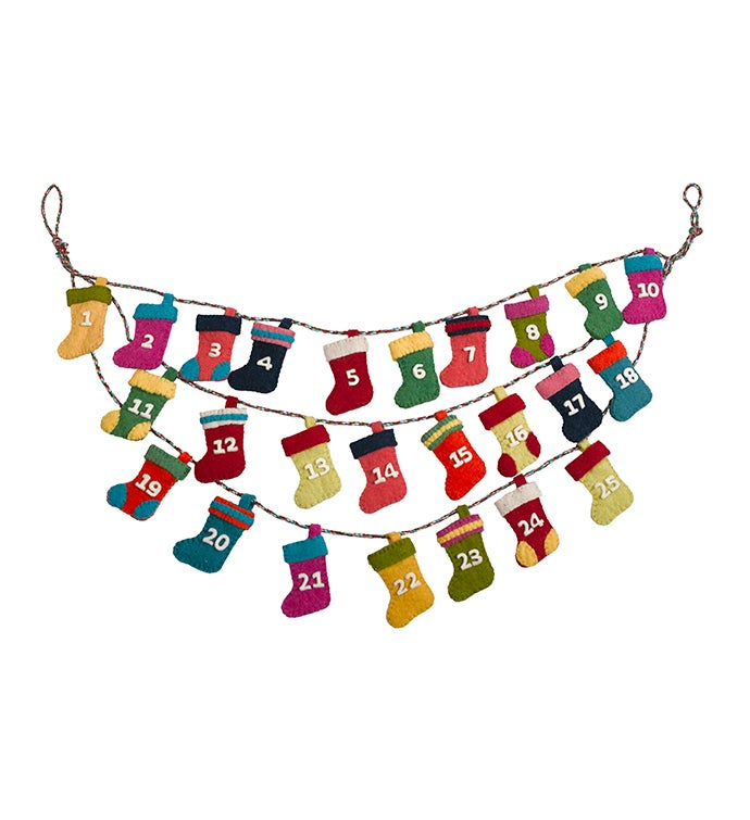 Handmade Hand Felted Wool Little Stockings Advent Calendar