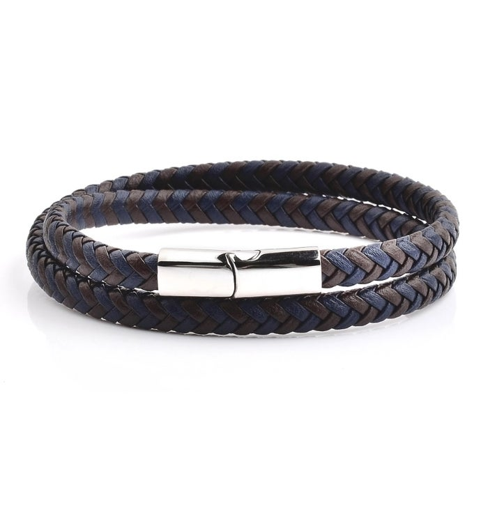Blue And Brown Braided Leather Wrap Bracelet