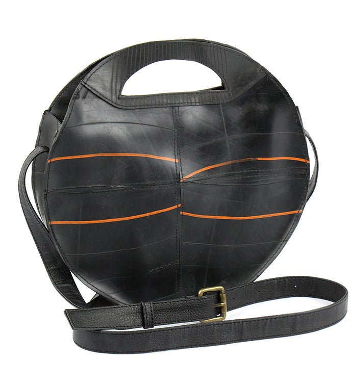 Handmade Recycled Tire Rubber Round Crossbody Bag