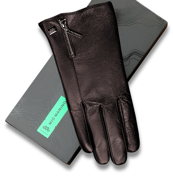 Mio Marino Zipper Designer Nappa Leather Gloves - Dark Chocolate