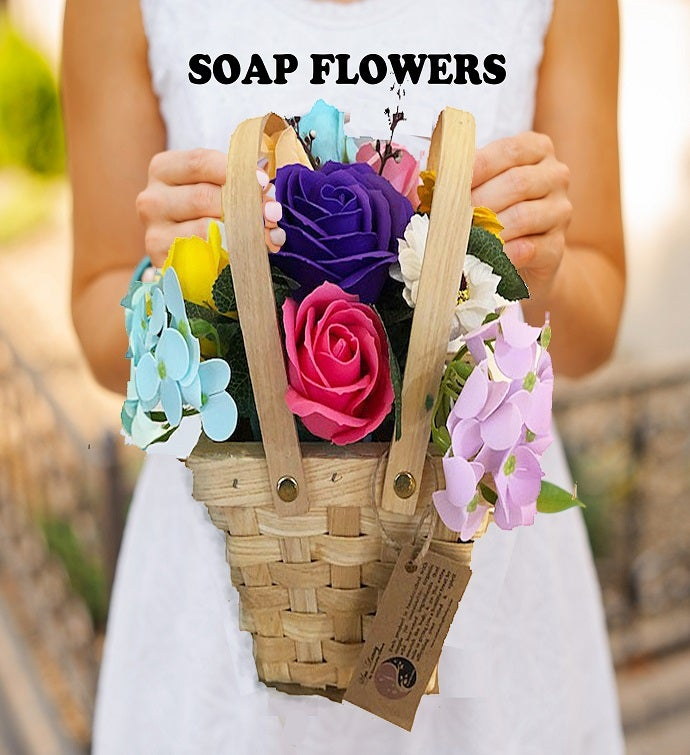 Soap Flower Spring Picnic Basket