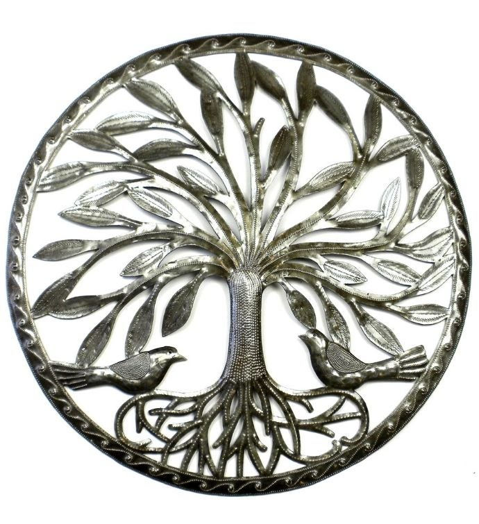 Recycled Steel Haitian Art Modern Rooted Tree Of Life With Birds 2334