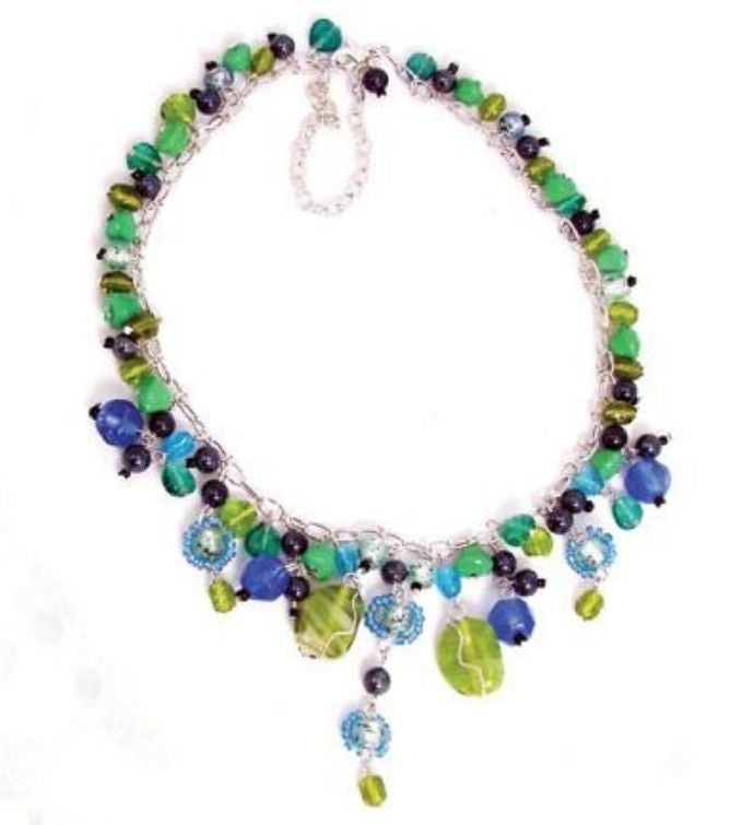Handmade Glass Bead Green  Blue Drop Necklace