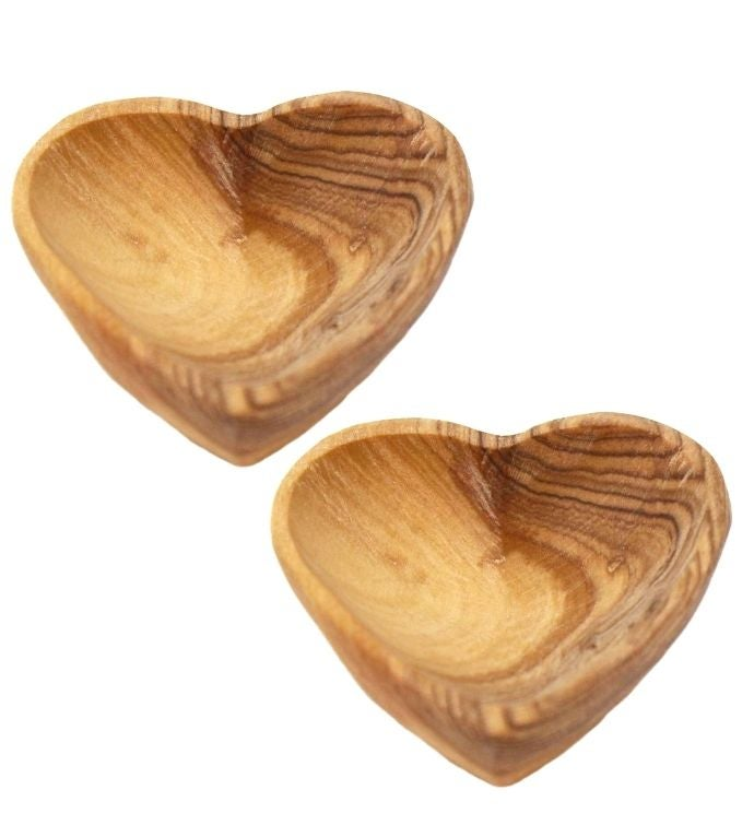 Petite Olive Wood Trinket Bowls Set of 2
